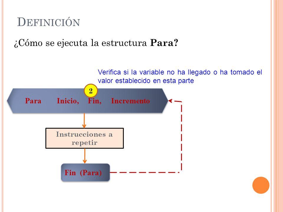 D EFINICIÓN ¿Cómo se ejecuta la estructura Para? Verifica si la variable no ha llegado o ha tomado el valor establecido en esta parte Para Inicio, Fin