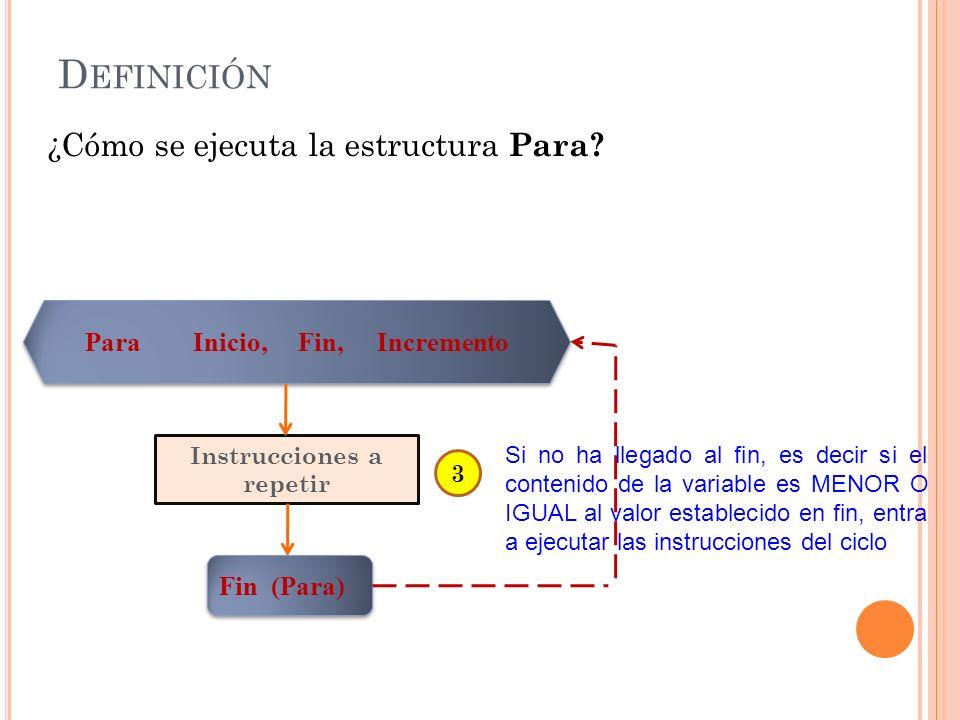 Para Inicio, Fin, Incremento Instrucciones a repetir Fin (Para) D EFINICIÓN ¿Cómo se ejecuta la estructura Para? 3 Si no ha llegado al fin, es decir s