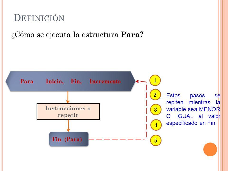 D EFINICIÓN ¿Cómo se ejecuta la estructura Para? Estos pasos se repiten mientras la variable sea MENOR O IGUAL al valor especificado en Fin Para Inici