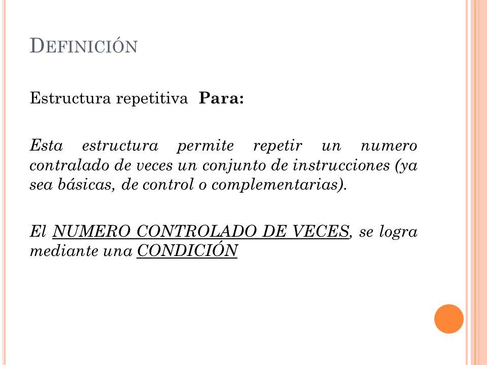 D EFINICIÓN Estructura repetitiva Para: Para Inicio Fin Incremento Instrucciones a repetir Fin (Para)