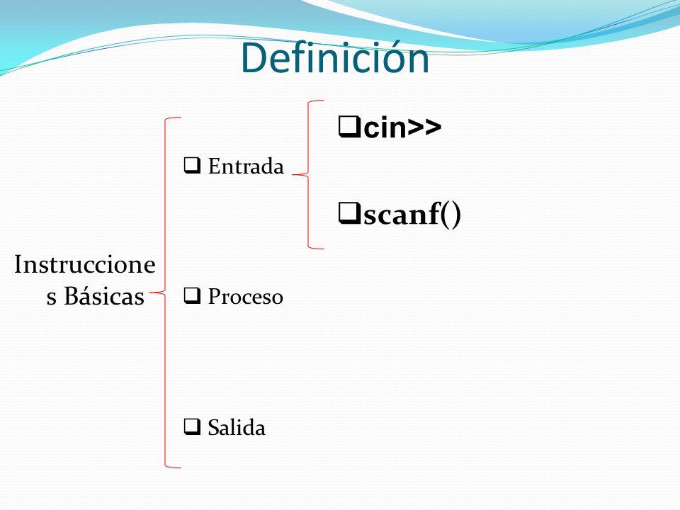 Definición Instruccione s Básicas Entrada Proceso Salida cin>> scanf()