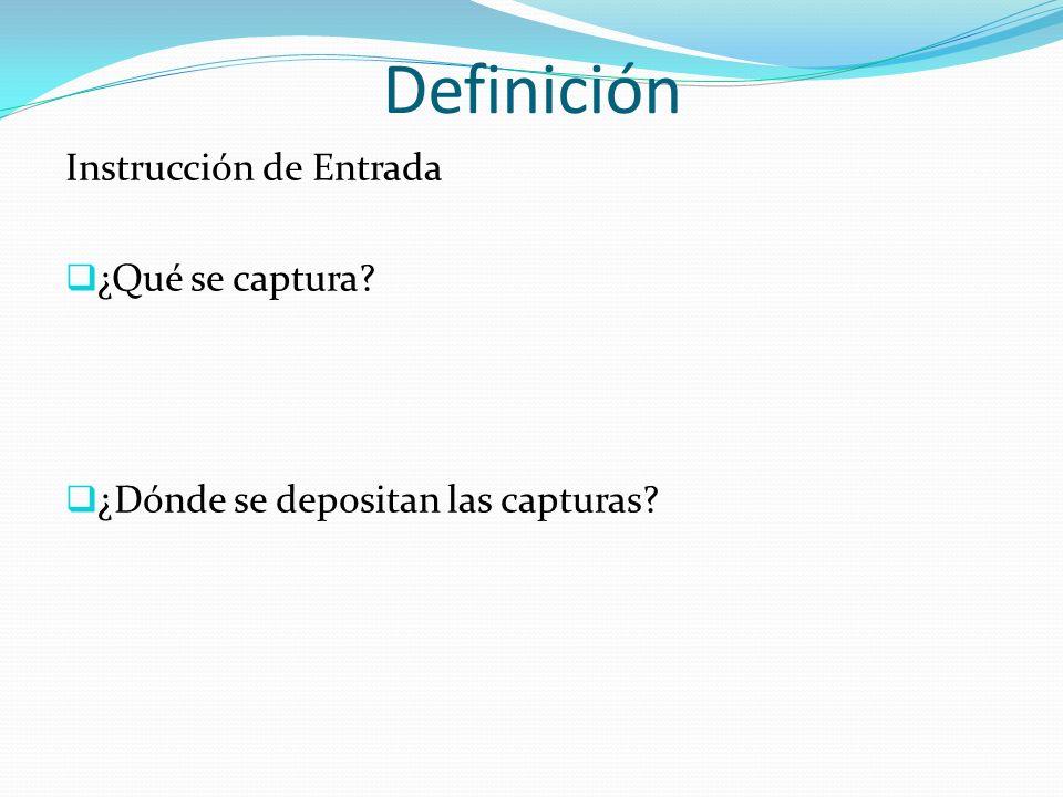 Definición Instrucción de Entrada ¿Qué se captura? ¿Dónde se depositan las capturas?