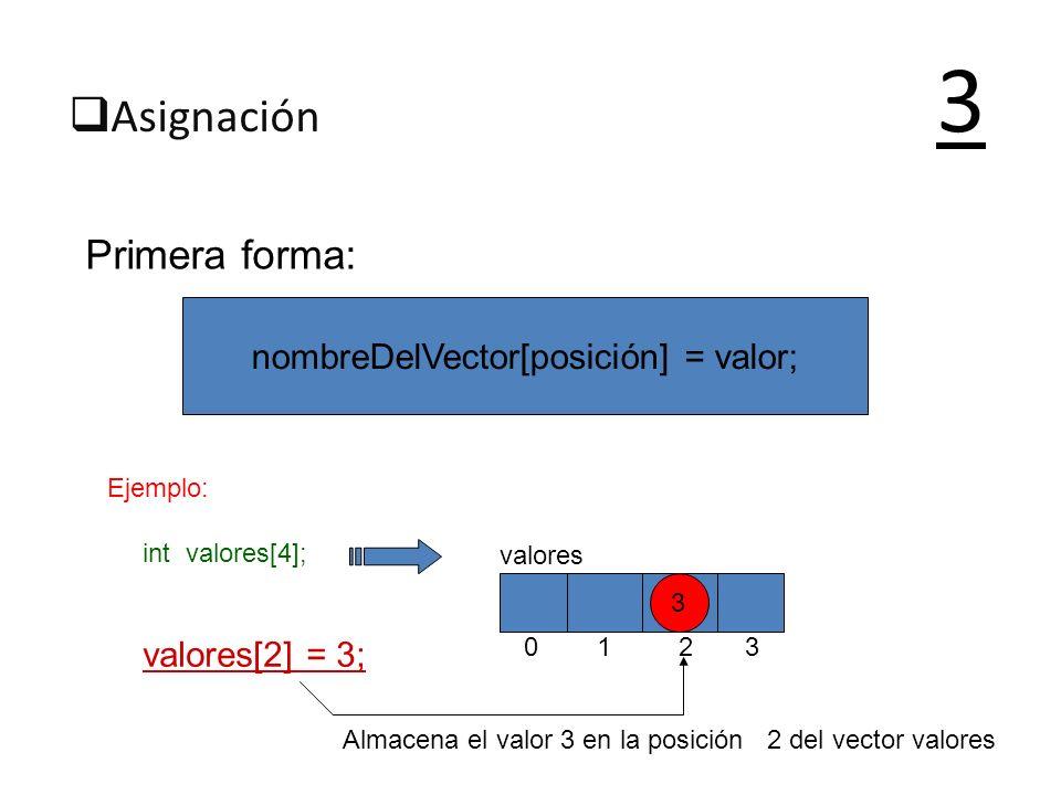 Asignación 3 Primera forma: nombreDelVector[posición] = valor; Ejemplo: int valores[4]; valores[2] = 3; 0 1 2 3 valores 3 Almacena el valor 3 en la po