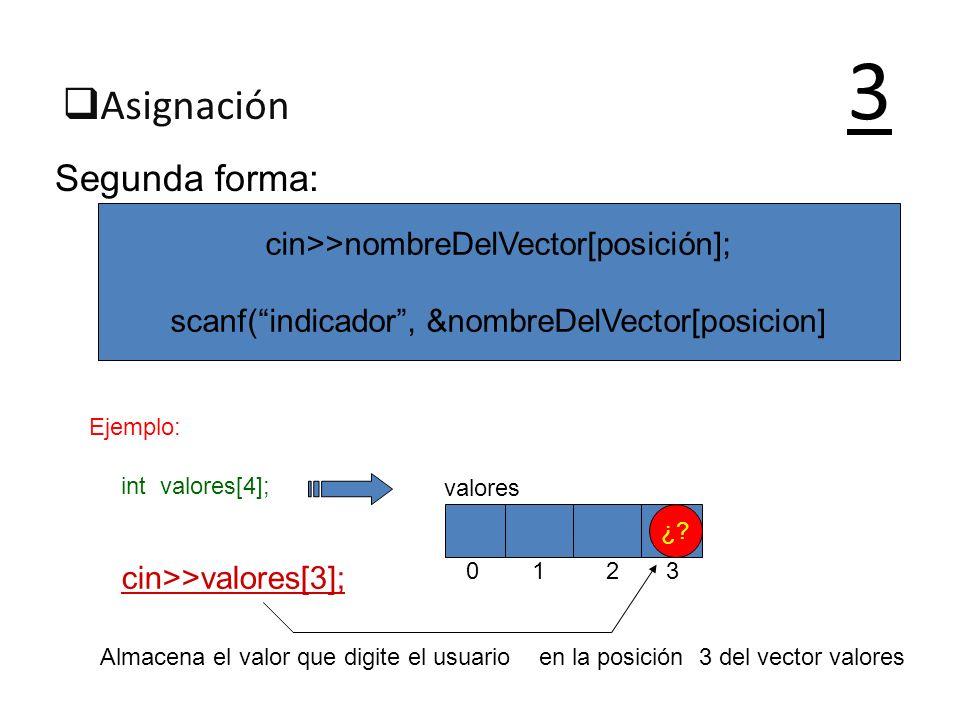 Asignación 3 Segunda forma: cin>>nombreDelVector[posición]; scanf(indicador, &nombreDelVector[posicion] Ejemplo: int valores[4]; cin>>valores[3]; 0 1