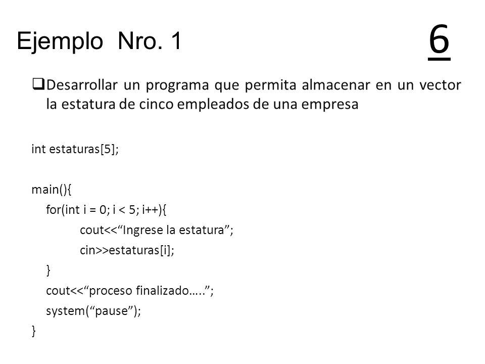 6 Desarrollar un programa que permita almacenar en un vector la estatura de cinco empleados de una empresa int estaturas[5]; main(){ for(int i = 0; i