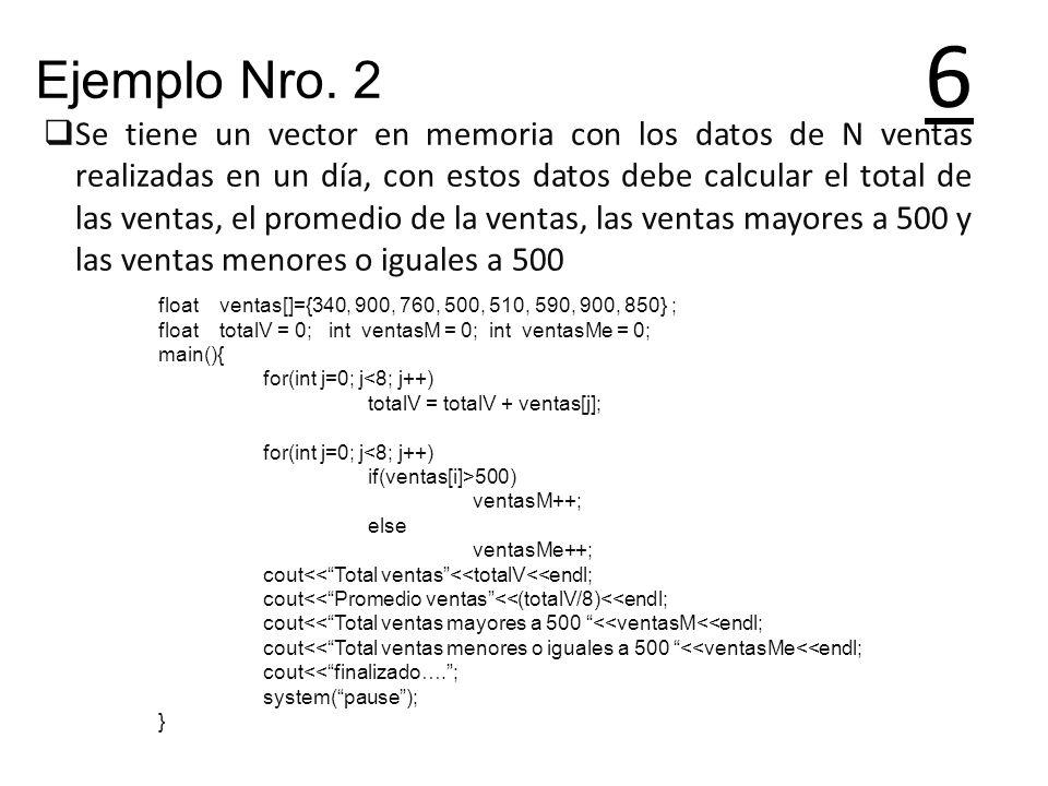 6 Se tiene un vector en memoria con los datos de N ventas realizadas en un día, con estos datos debe calcular el total de las ventas, el promedio de l