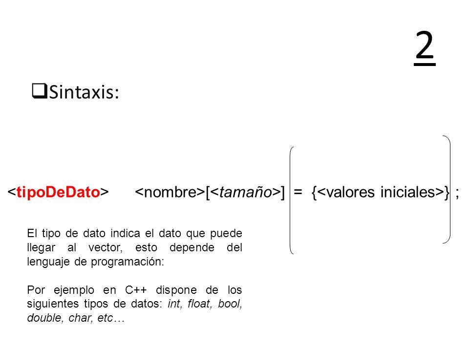 Sintaxis: 2 El tipo de dato indica el dato que puede llegar al vector, esto depende del lenguaje de programación: Por ejemplo en C++ dispone de los si