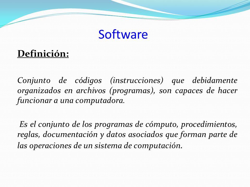 Software Definición: Conjunto de códigos (instrucciones) que debidamente organizados en archivos (programas), son capaces de hacer funcionar a una com