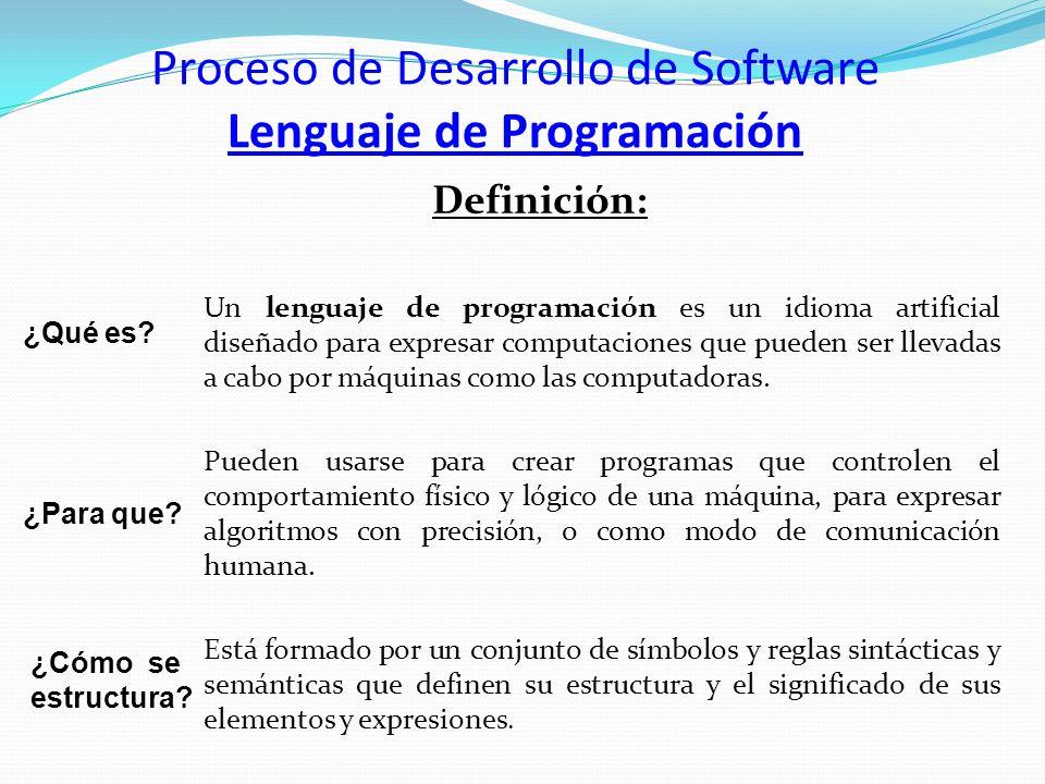 Proceso de Desarrollo de Software Lenguaje de Programación Definición: Un lenguaje de programación es un idioma artificial diseñado para expresar comp