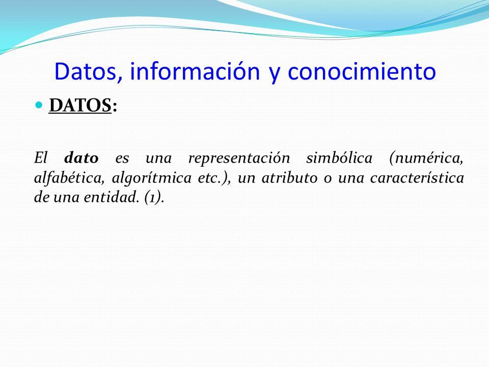 Datos, información y conocimiento DATOS: El dato es una representación simbólica (numérica, alfabética, algorítmica etc.), un atributo o una caracterí
