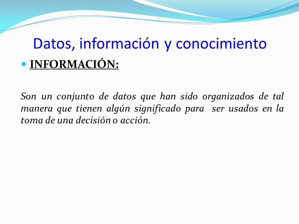 Datos, información y conocimiento INFORMACIÓN: Son un conjunto de datos que han sido organizados de tal manera que tienen algún significado para ser u