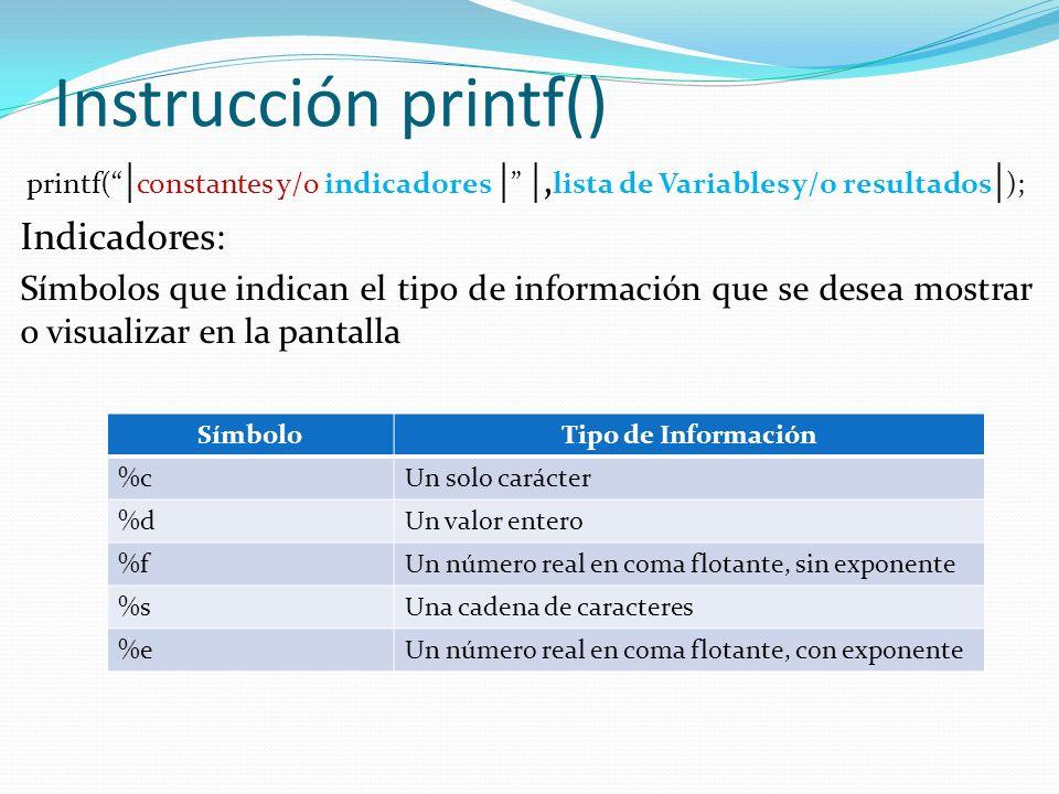 Instrucción printf() printf( | constantes y/o indicadores | |, lista de Variables y/o resultados | ); Indicadores: Símbolos que indican el tipo de información que se desea mostrar o visualizar en la pantalla SímboloTipo de Información %cUn solo carácter %dUn valor entero %fUn número real en coma flotante, sin exponente %sUna cadena de caracteres %eUn número real en coma flotante, con exponente