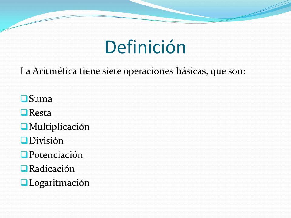 Definición La Aritmética tiene siete operaciones básicas, que son: Suma Resta Multiplicación División Potenciación Radicación Logaritmación