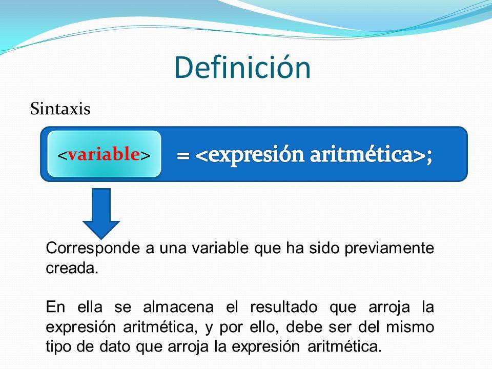 Definición Sintaxis Operador de asignación indica a la computadora que el valor arrojado por la expresión aritmética, debe ser asignado en la variable especificada