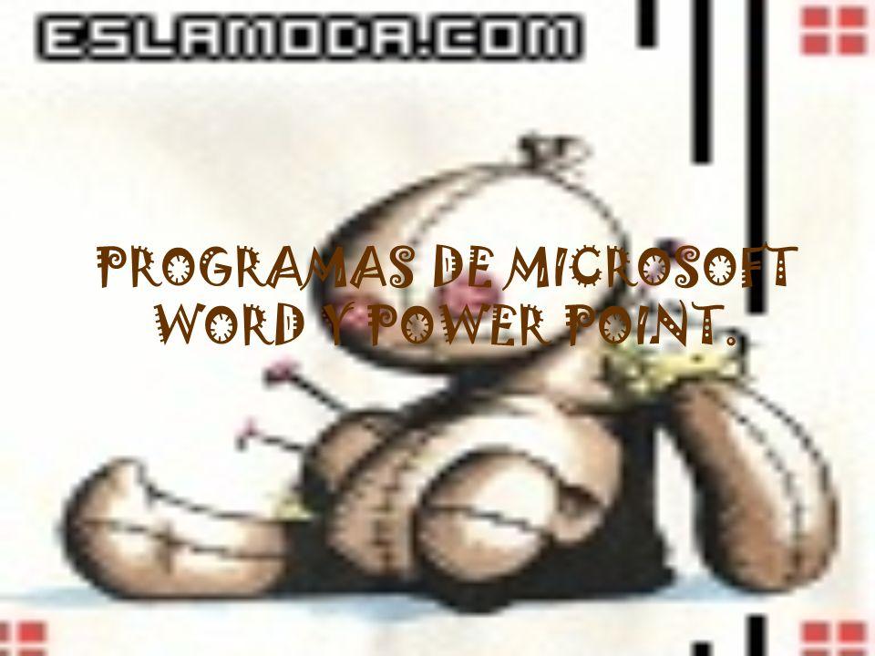 PROGRAMAS DE MICROSOFT WORD Y POWER POINT.