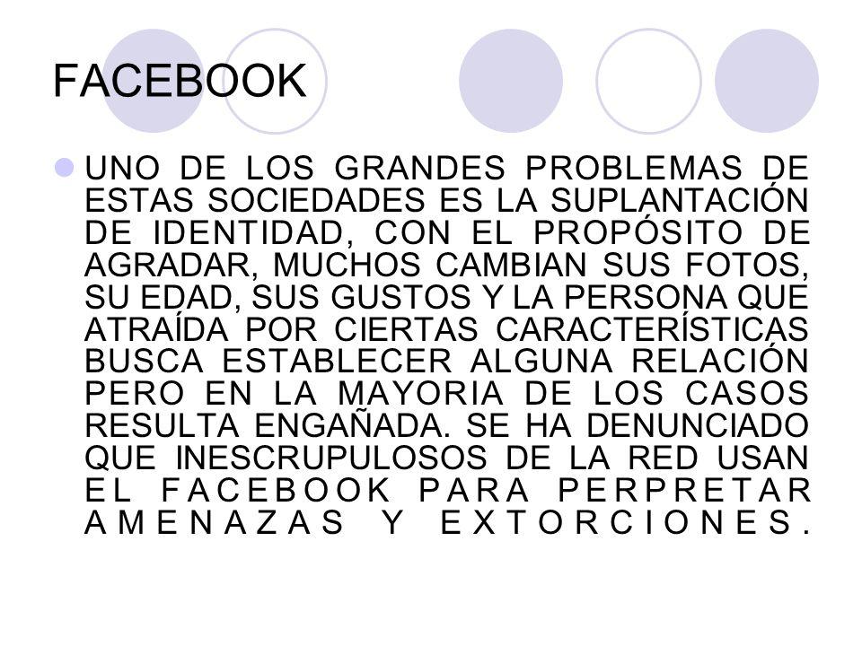 FACEBOOK UNO DE LOS GRANDES PROBLEMAS DE ESTAS SOCIEDADES ES LA SUPLANTACIÓN DE IDENTIDAD, CON EL PROPÓSITO DE AGRADAR, MUCHOS CAMBIAN SUS FOTOS, SU E