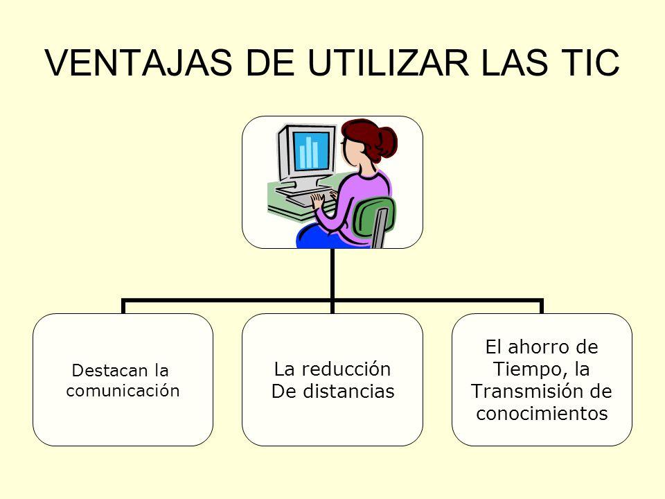 VENTAJAS DE UTILIZAR LAS TIC Destacan la comunicación La reducción De distancias El ahorro de Tiempo, la Transmisión de conocimientos