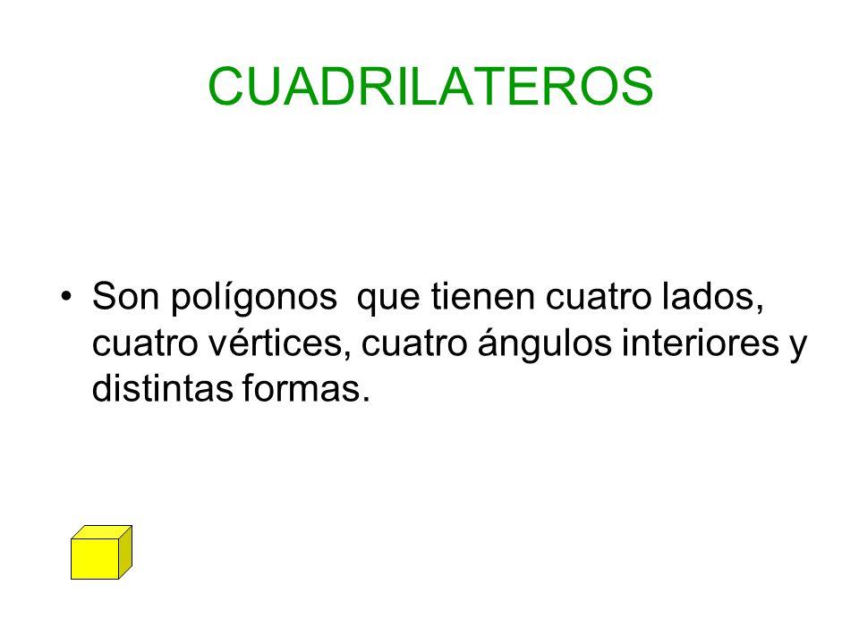 CUADRILATEROS Son polígonos que tienen cuatro lados, cuatro vértices, cuatro ángulos interiores y distintas formas.