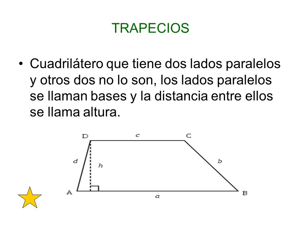 TRAPECIOS Cuadrilátero que tiene dos lados paralelos y otros dos no lo son, los lados paralelos se llaman bases y la distancia entre ellos se llama al