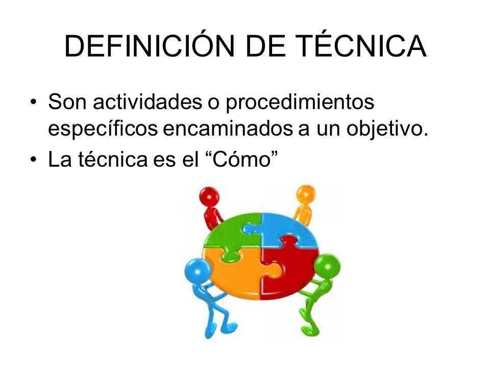 DEFINICIÓN DE TÉCNICA Son actividades o procedimientos específicos encaminados a un objetivo. La técnica es el Cómo