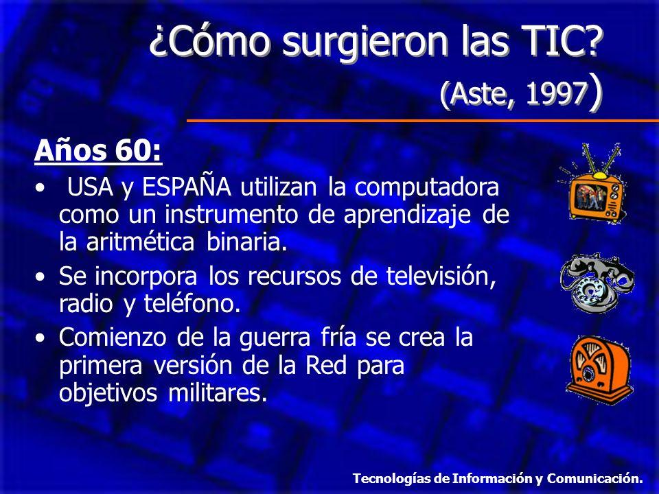 ¿Cómo surgieron las TIC? (Aste, 1997 ) ¿Cómo surgieron las TIC? (Aste, 1997 ) Años 60: USA y ESPAÑA utilizan la computadora como un instrumento de apr