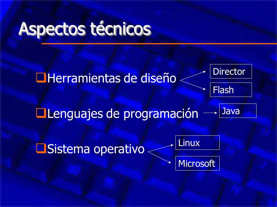 Aspectos técnicos Herramientas de diseño Lenguajes de programación Sistema operativo Director Flash Java Microsoft Linux