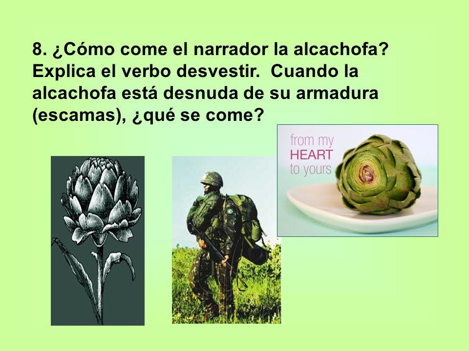 8. ¿Cómo come el narrador la alcachofa? Explica el verbo desvestir. Cuando la alcachofa está desnuda de su armadura (escamas), ¿qué se come?