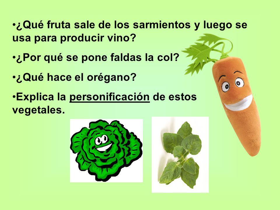¿Qué fruta sale de los sarmientos y luego se usa para producir vino? ¿Por qué se pone faldas la col? ¿Qué hace el orégano? Explica la personificación