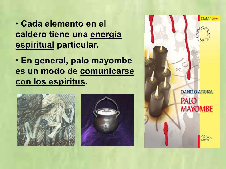 Cada elemento en el caldero tiene una energía espiritual particular. En general, palo mayombe es un modo de comunicarse con los espíritus.