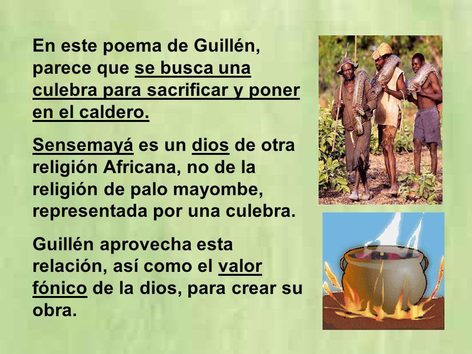 En este poema de Guillén, parece que se busca una culebra para sacrificar y poner en el caldero. Sensemayá es un dios de otra religión Africana, no de