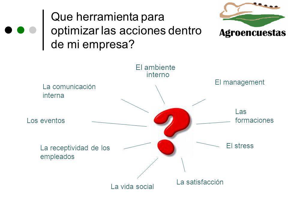 Que herramienta para optimizar las acciones dentro de mi empresa? El ambiente interno La comunicación interna La vida social El management El stress L