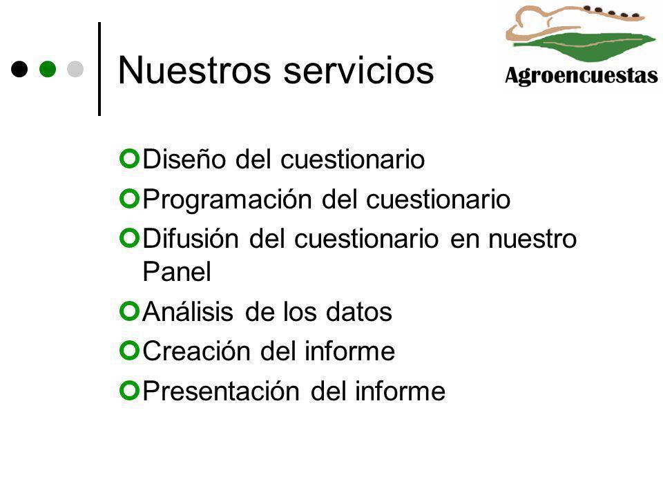 Nuestros servicios Diseño del cuestionario Programación del cuestionario Difusión del cuestionario en nuestro Panel Análisis de los datos Creación del