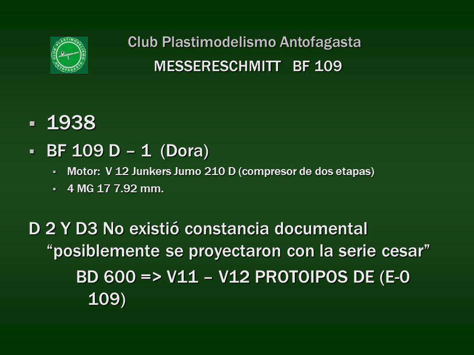 Club Plastimodelismo Antofagasta 1938 1938 BF 109 D – 1 (Dora) BF 109 D – 1 (Dora) Motor: V 12 Junkers Jumo 210 D (compresor de dos etapas) Motor: V 1