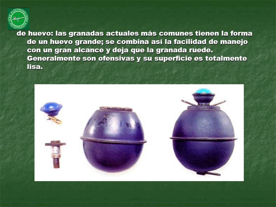 de huevo: las granadas actuales más comunes tienen la forma de un huevo grande; se combina así la facilidad de manejo con un gran alcance y deja que l