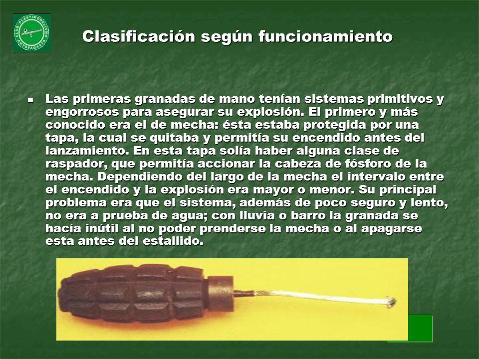 Clasificación según funcionamiento Las primeras granadas de mano tenían sistemas primitivos y engorrosos para asegurar su explosión. El primero y más