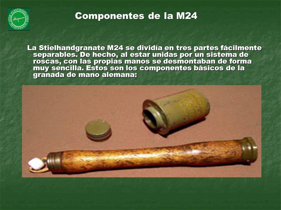 La Stielhandgranate M24 se dividía en tres partes fácilmente separables. De hecho, al estar unidas por un sistema de roscas, con las propias manos se