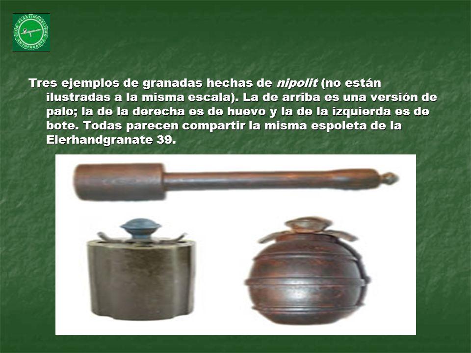 Tres ejemplos de granadas hechas de nipolit (no están ilustradas a la misma escala). La de arriba es una versión de palo; la de la derecha es de huevo