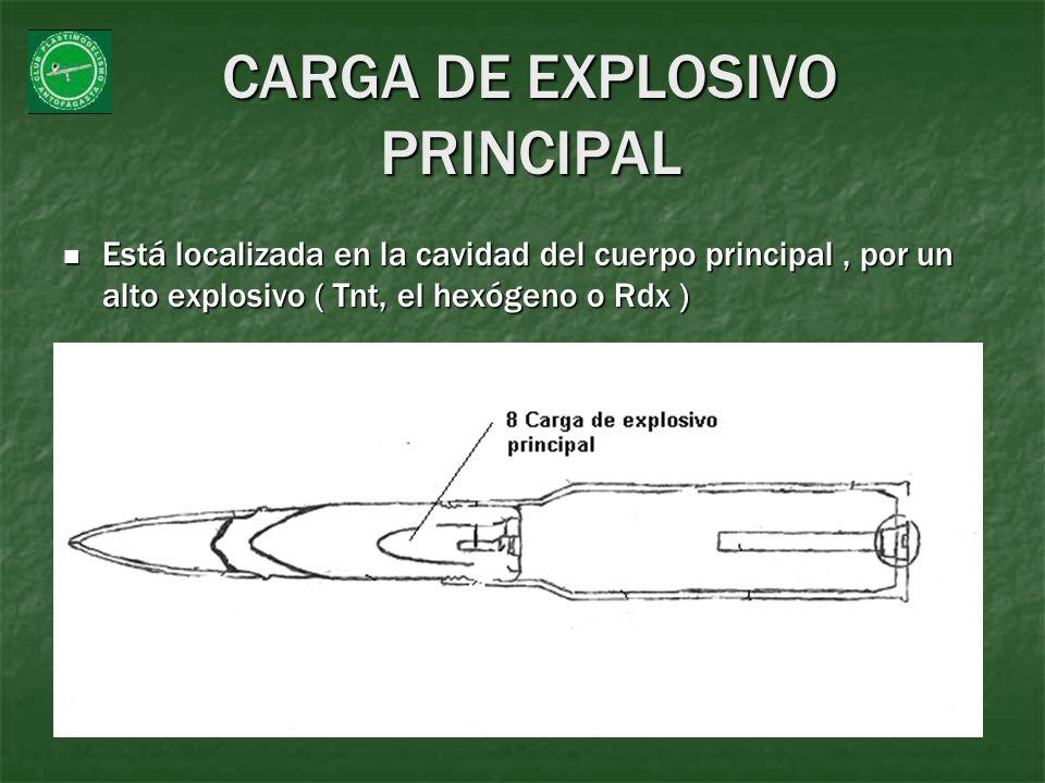 CARGA DE EXPLOSIVO PRINCIPAL Está localizada en la cavidad del cuerpo principal, por un alto explosivo ( Tnt, el hexógeno o Rdx ) Está localizada en l