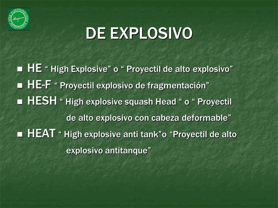 DE EXPLOSIVO HE High Explosive o Proyectil de alto explosivo HE High Explosive o Proyectil de alto explosivo HE-F Proyectil explosivo de fragmentación