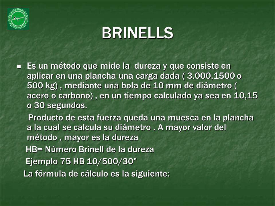 BRINELLS Es un método que mide la dureza y que consiste en aplicar en una plancha una carga dada ( 3.000,1500 o 500 kg), mediante una bola de 10 mm de