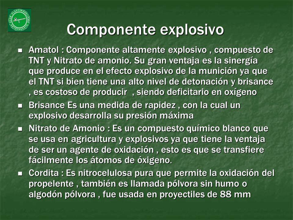 Componente explosivo Amatol : Componente altamente explosivo, compuesto de TNT y Nitrato de amonio. Su gran ventaja es la sinergía que produce en el e