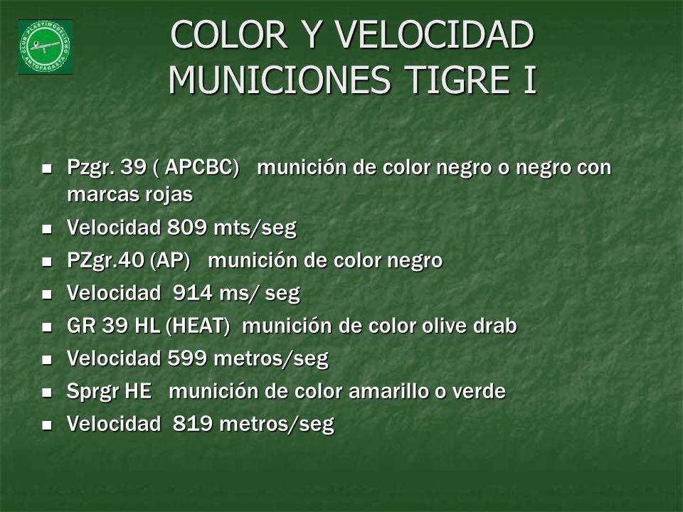 COLOR Y VELOCIDAD MUNICIONES TIGRE I Pzgr. 39 ( APCBC) munición de color negro o negro con marcas rojas Pzgr. 39 ( APCBC) munición de color negro o ne