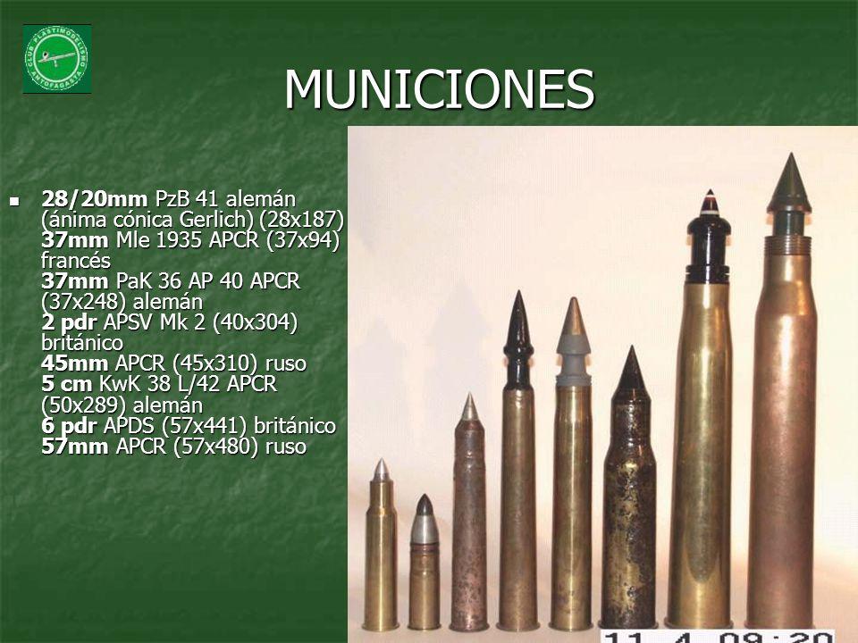 MUNICIONES 28/20mm PzB 41 alemán (ánima cónica Gerlich) (28x187) 37mm Mle 1935 APCR (37x94) francés 37mm PaK 36 AP 40 APCR (37x248) alemán 2 pdr APSV
