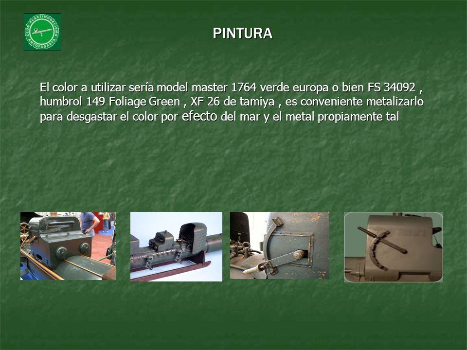 El color a utilizar sería model master 1764 verde europa o bien FS 34092, humbrol 149 Foliage Green, XF 26 de tamiya, es conveniente metalizarlo para