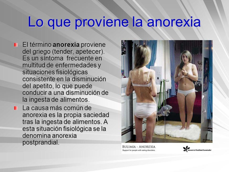 Lo que proviene la anorexia El término anorexia proviene del griego (tender, apetecer). Es un síntoma frecuente en multitud de enfermedades y situacio