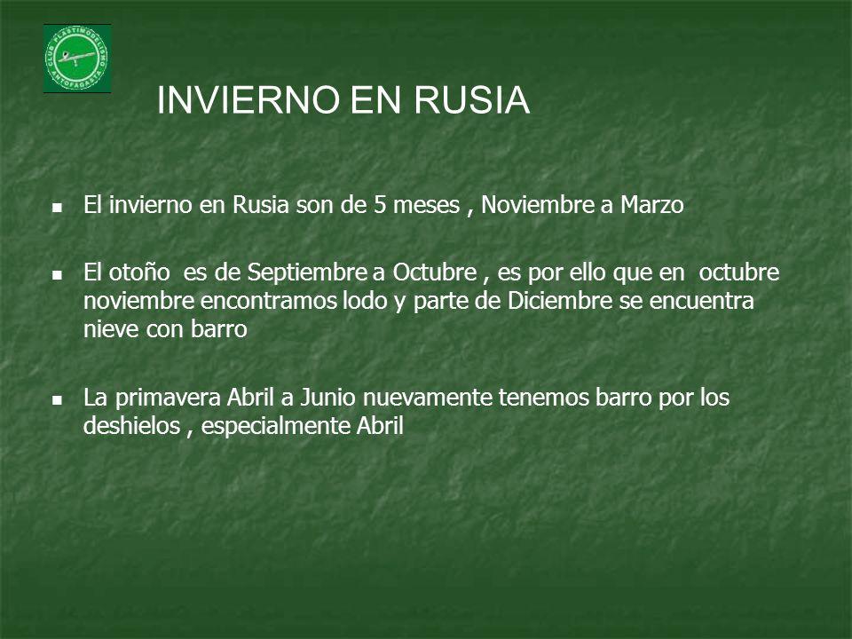 INVIERNO EN RUSIA El invierno en Rusia son de 5 meses, Noviembre a Marzo El otoño es de Septiembre a Octubre, es por ello que en octubre noviembre enc