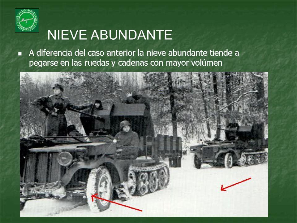 NIEVE ABUNDANTE A diferencia del caso anterior la nieve abundante tiende a pegarse en las ruedas y cadenas con mayor volúmen