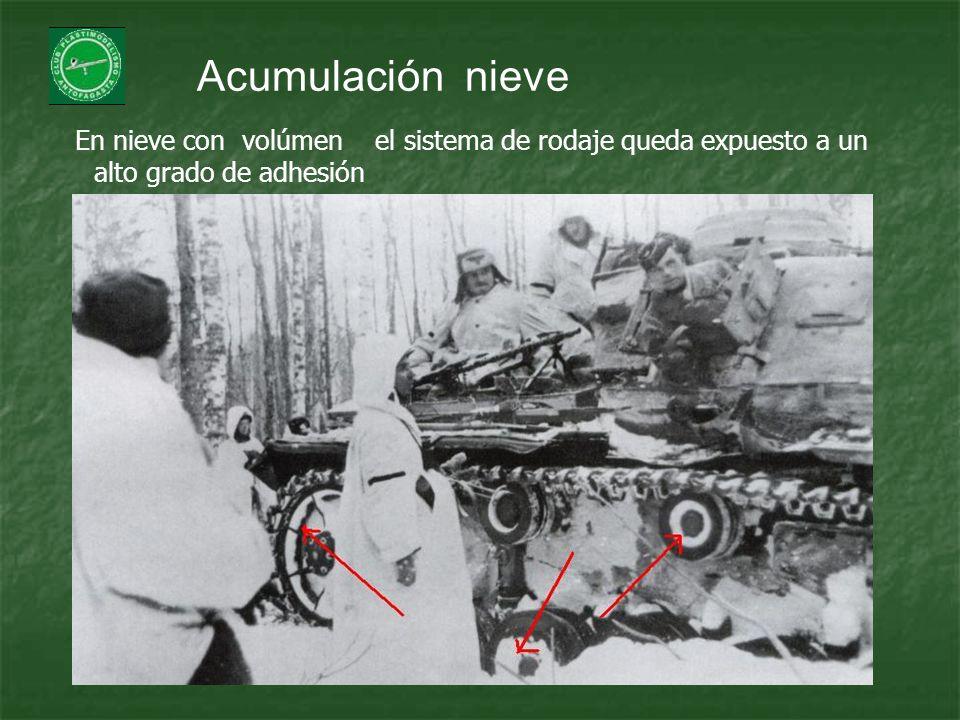 Acumulación nieve En nieve con volúmen el sistema de rodaje queda expuesto a un alto grado de adhesión