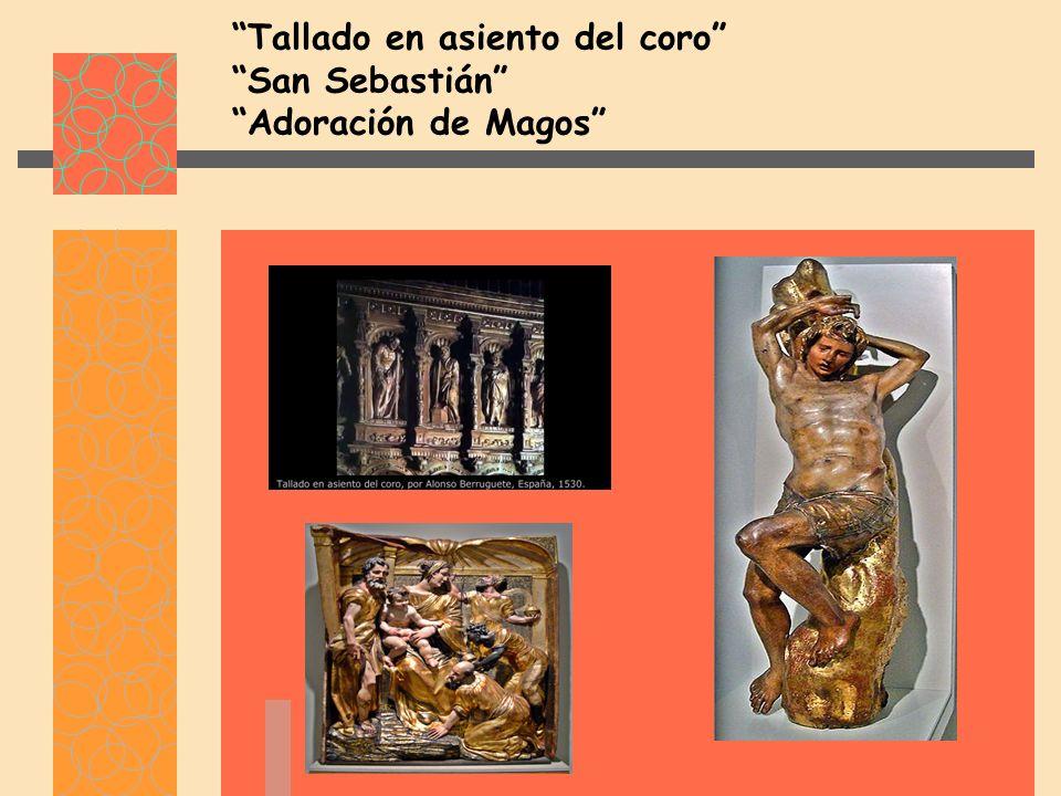 Tallado en asiento del coro San Sebastián Adoración de Magos