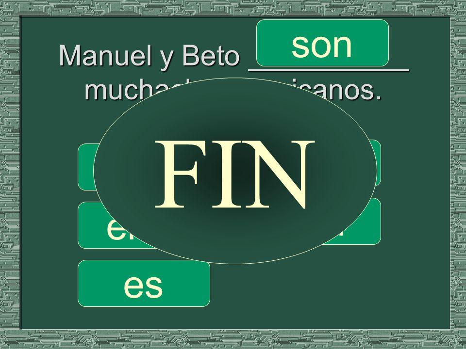 Manuel y Beto __________ muchachos mexicanos. somos son soy eres es FIN